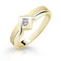 Zlatý prsten DF 1837 ze žlutého zlata, s briliantem