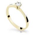 Zlatý zásnubní prsten DF 1877, žluté zlato, s briliantem
