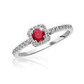 Zlatý zásnubný prsteň DF 2800, biele zlato, rubín s diamantmi