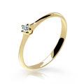 Zlatý zásnubný prsteň DF 2940, žlté zlato, s briliantom