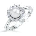 Zlatý zásnubný prsteň DF 4300, biele zlato, sladkovodné perla, brilianty