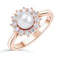 Zlatý zásnubný prsteň DF 4300, červené (ružové) zlato, sladkovodné perla