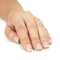 Zlatý dámsky prsteň DF 2803 z bieleho zlata, ružový zafír s diamantmi
