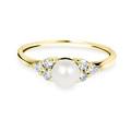 Zlatý dámsky prsteň DF 2549 zo žltého zlata, sladkovodné perla s diamantmi