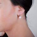 Zlaté perlové náušnice DF 2644, sladkovodné, biele zlato