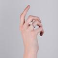 Zlatý dámsky prsteň DF 2659 z ružového zlata, sladkovodné perla s diamantmi
