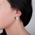 Zlaté perlové náušnice DF 2665, sladkovodné, biele zlato