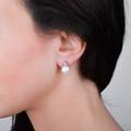 Zlaté perlové náušnice DF 2667, sladkovodné, biele zlato