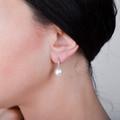 Zlaté perlové náušnice DF 3122, prírodné perly, biele zlato