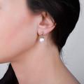 Zlaté perlové náušnice DF 3125, sladkovodné perly, ružové zlato