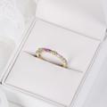 Zlatý dámsky prsteň DF 4918 zo žltého zlata, multicolor