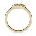Zlatý dámsky prsteň DF 4946 zo žltého zlata, farebné kamene