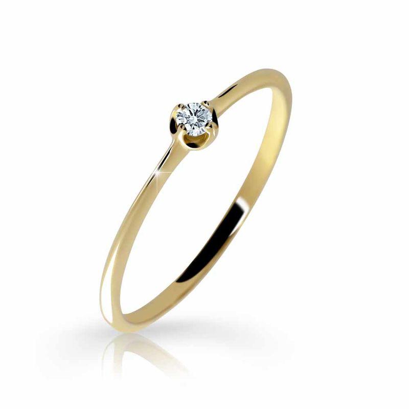 Zlatý zásnubní prsten DF 2931, žluté zlato, s briliantem 46 + Certifikát pravosti kamene