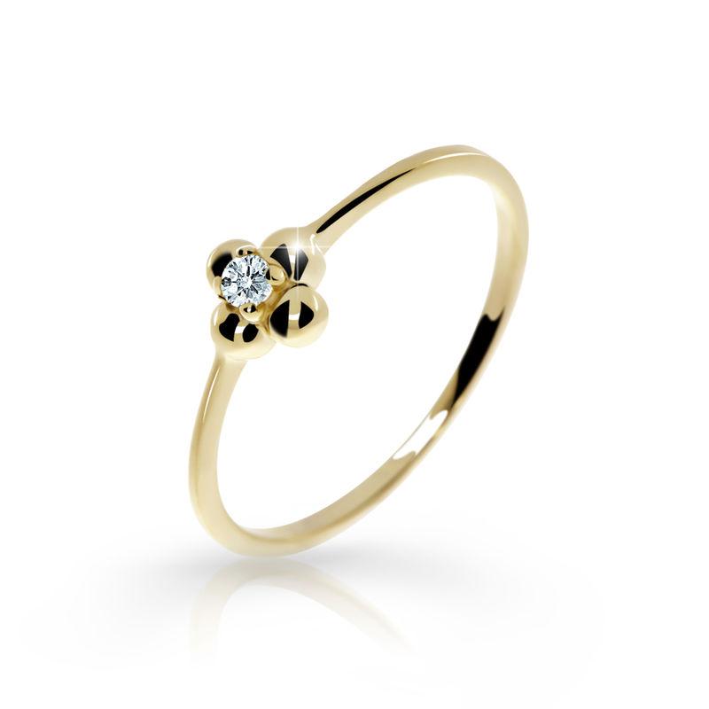 Zlatý zásnubní prsten DF 2932, žluté zlato, s briliantem 46 + Certifikát pravosti kamene