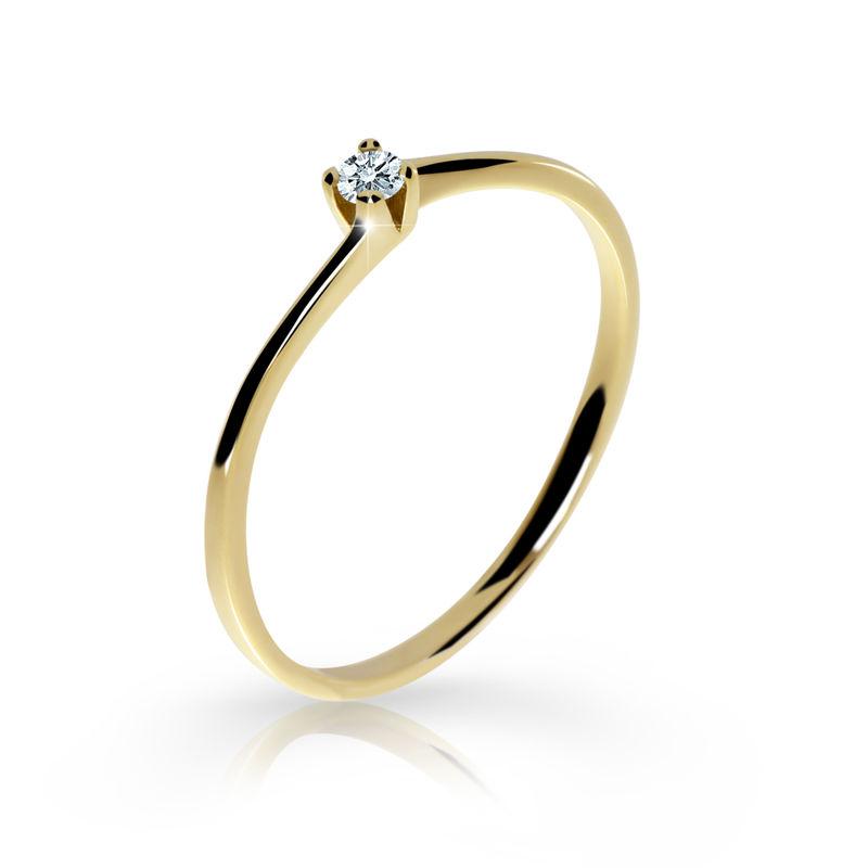 Zlatý zásnubní prsten DF 2943, žluté zlato, s briliantem 46 + Certifikát pravosti kamene